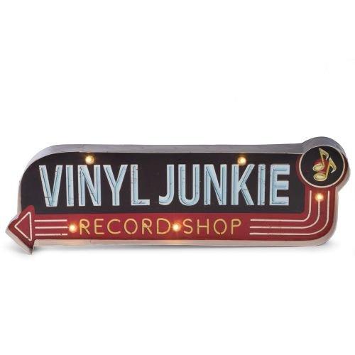 Bey Berk Vinyl Junkie Metal Sign, LED-Lighted