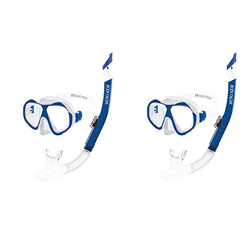 Body Glove Enlighten II Large/XL Diving Snorkel and Goggles Mask Set, Clear/Blue (2 Pack) ()