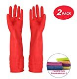 YSLON Rubber Cleaning Gloves Kitchen Dishwashing Glove 2-Pairs and Cleaning Cloth 2-Pack,Waterproof Reuseable. (Medium)