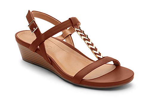 Vionic Women's Port Cali T-Strap Sandal - Ladies Demi Wedge Sandals with Concealed Orthotic Arch Support Rust 7 Medium US