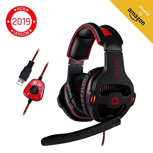 ⭐️ KLIM Mantis - Gaming Headphones - USB Headset with Microphone - for PC, PS4, Nintendo Switch, Mac, 7.1 Surround Sound - [ New 2019 Version ] - Noise Cancelling Gaming Headset (Best Usb Microphone 2019)