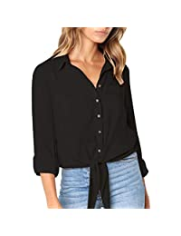 kingf Womens Knot Front Shirt Crushed Long Sleeve Button-Down Bandage Tops Blouse