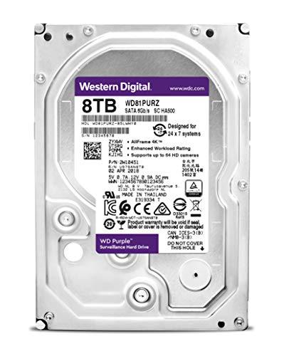 """Western Digital Bare Drives WD Purple 8TB Surveillance Hard Disk Drive - 5400 RPM Class SATA 6 GB/S 256 MB Cache 3.5"""" (WD81PURZ 8000)"""
