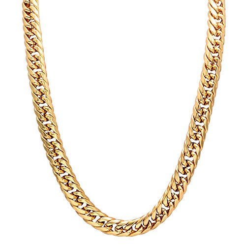 CrazyPiercing 18K Gold Plated Fuax Chain Necklace, 90s Punk Style Necklace Costume Jewelry, Hip Hop Turnover Chain Necklace, Stainless Steel (24 inches, 13mm)