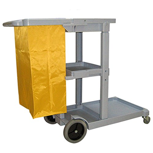 Boss Cleaning Equipment B010092 Janitor Cart with Zipper Bag, Gray