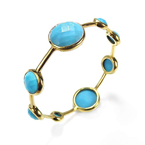 - AeraVida Faceted Bubble Simulated Turquoise Gold Plated Solid Brass Bangle Bracelet