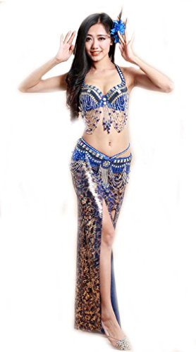 Beaded Dance Costumes (OMYFAIRY belly dance sequin beaded bra top and hip belt (38B, Royal Blue))