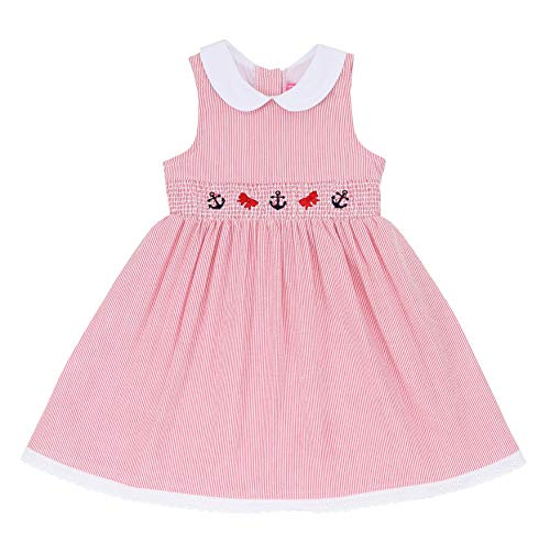 - Good Lad Toddler & 4/6X Girls Seersucker Smocked Nautical Dress with Nautical Embroideries (3T, Red)