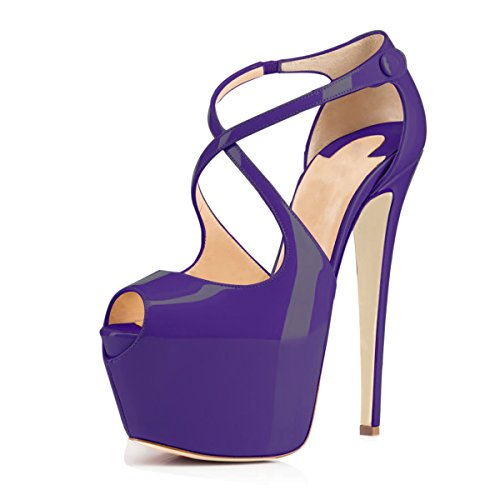 1/2 Inch Sexy Strappy Shoes - Women Peep Toe Cross Over Strap Pumps - 1 1/2 inches Hidden Platform Sandals - 6 inches Covered Stiletto High Heels (9, Purple)