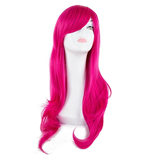 Cosplay Wig Synthetic Heat Resistant Long Wavy White Hair Halloween Peruca Carnaval Party Masker Masquerade Hairpiece Pink 26inches]()