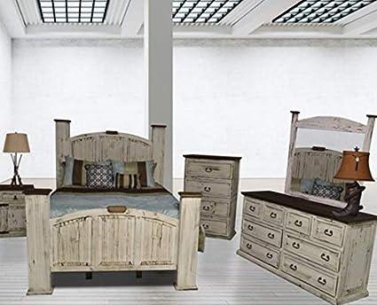Amazon.com: Rustic Various Stain Bedroom Set Real Wood. Dark ...