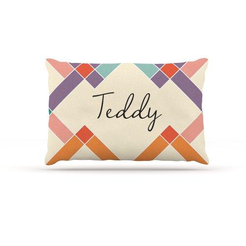 Kess InHouse ''Teddy'' Colorful Geometry Name Fleece Dog Bed, 30 by 40-Inch, Rainbow/Tan by Kess InHouse