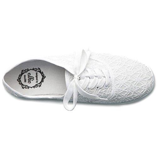 Ollio Kvinners Ballettsko Snøre Opp Sneaker Lerret Flat White