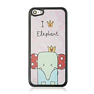 Newest Lovely Cartoon Elephant Pattern Protective Plastic Hard Shell Sleeve Skin Case Cover For iPhone 5C
