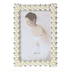 4x6 Silver Metal Photo Frame with Pearl & Crystal Decor