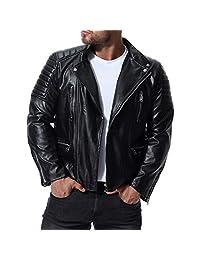 Vicbovo Clearance Mens Faux Leather Jacket - Motorcycle Lapel Bomber Punk Irregular Zipper Slim Biker Jacket Outwear Coat