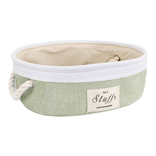 Light Green Canvas - uxcell Storage Baskets with Cotton Handles, Foldable Storage Toy Bins Laundry Basket for Clothes Towel Organizer, Fabric Cubes Box for Home Shelves Closet (Oval,Light Green)