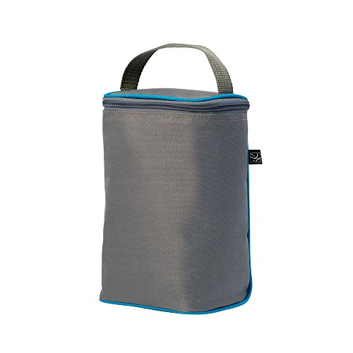 J.L. Childress Tall TwoCOOL, Breastmilk Cooler, Baby Bottle and Baby Food Bag, Insulated and Leak Proof, Ice Pack Included, Fits 2-4 Bottles, Grey/Teal ()