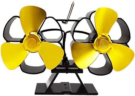暖炉ファン6ブレード加熱式ストーブファン暖炉ファンツインモーターWoodストーブファン,イエロー