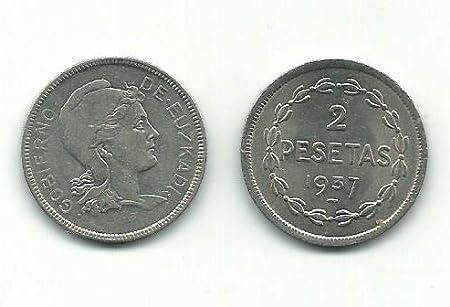 Matidia Moneda Original 2 PESETAS Gobierno DE EUSKADI 1937 REPÚBLICA ESPAÑA Guerra Civil: Amazon.es: Juguetes y juegos