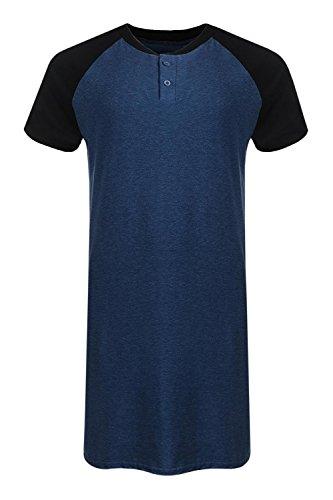 Runcati Mens Sleepshirt Short Sleeve Nightgown Raglan Long Night Shirts Henley Sleepwear - Sleepshirt Sleeve Short