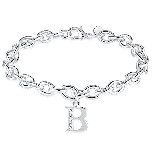 WIBERN Name Jewelry Silver 925 Plated Zircon Stone 26 Letters Alphabet B Initial Charm Link Bracelet for Women (Alphabet B) -