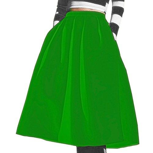ZhuiKun Femme Jupe Patineuse lgante Midi Jupe Plisse avec Poche Vert
