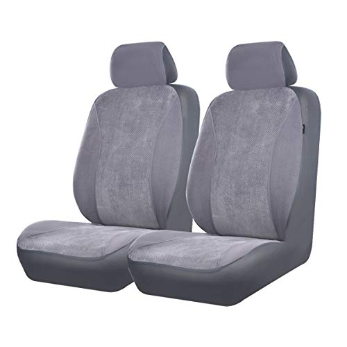 CAR PASS Universal Fit Corduroy Two Front seat Covers,Airbag Compatible,Fit for suvs,sedans,Vans,Trucks (Dark Gray)