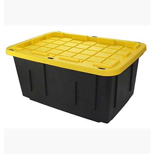 27 Gallon Black Tote with Standard Snap Lid Heavy duty Construction For Garage and Workshop Use by Centrex (Image #4)