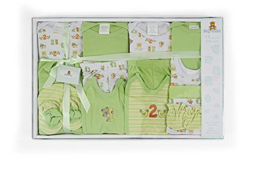 Big Oshi 15 Piece Layette Gift Set, Green (Green Layette)