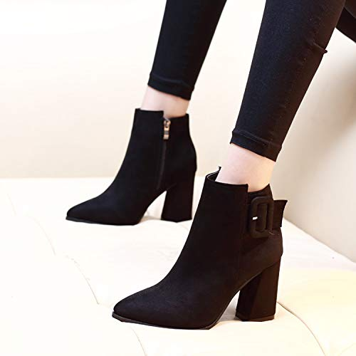 9Cm Buckle Tube Boots Suede Dingxue Short Belt Heels Ma Joker Pointed LBTSQ Heel Black Short High YqSFFw