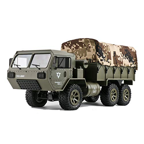 (ZUINIUBI Canvas 1/16 2.4G 6WD RC Car Proportional Control US Army Military Truck RTR Model Toy for Kids with 2 Battery,Transmitter,Canvas & USB Charging)
