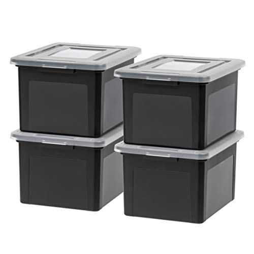 (IRIS USA, Inc. FB-21EE Letter and Legal Size File Box, Medium, Black, 4 Pack)
