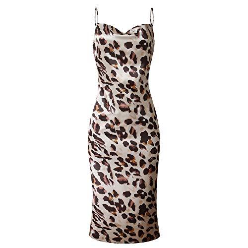 Hunchii Womens Boho Polka-dot Cocktail Midi Dress Sleeveless Wrap Sexy Sundress Underwear Leopard -