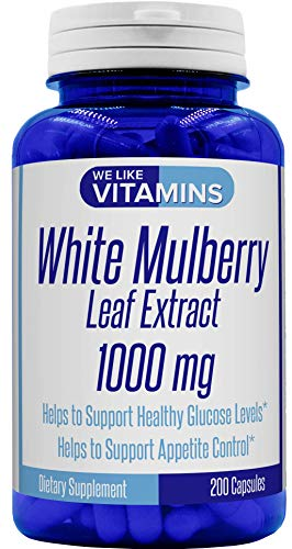 (White Mulberry Max Strength 1000mg – 200 Capsules – Best Value White Mulberry Supplement on Amazon – Helps to Support Blood Sugar and Cholesterol)