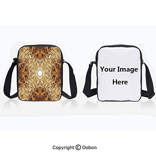 Polyester Anti-Theft Everything Crossbody Bag Unisex Teen Vintage Style Leaf Pattern Classic Islamic Architectural Elements Folk Artwork Brown Cream Lightweight Zipper Multi-Pocketed Travel Bag