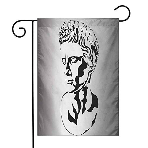 Mannwarehouse Toga Party Garden Flag Graphic Statue Design of Augustus Roman Emperor Ruler Ancient Artwork Decorative Flags for Garden Yard Lawn W12 x L18 Grey Black White