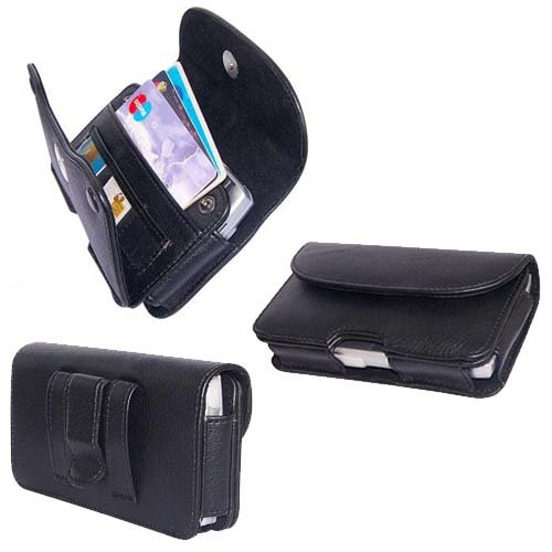 PCMICROSTORE Brand Apple iPhone PDA Premium Black Leather Wallet Carrying Case with Belt Loop and Clip - Include Accessory Compartment - Style H11 - not compatible for iphone 5, 5S, iphone 5C, iphone 6 (4.7