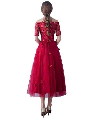 Rot Kleid Erosebridal Hülsen Hochzeit Blumen Halbe Brautjungferkleid pPq8f