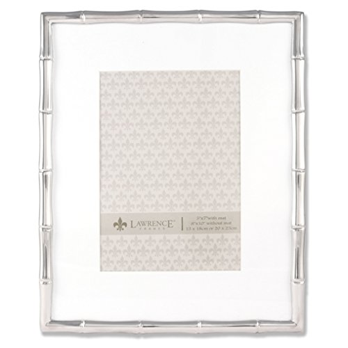 (Lawrence Frames 710180 5 by 7-Inch Silver Metal Bamboo Picture Frame, 8 by 10-Inch Matted)