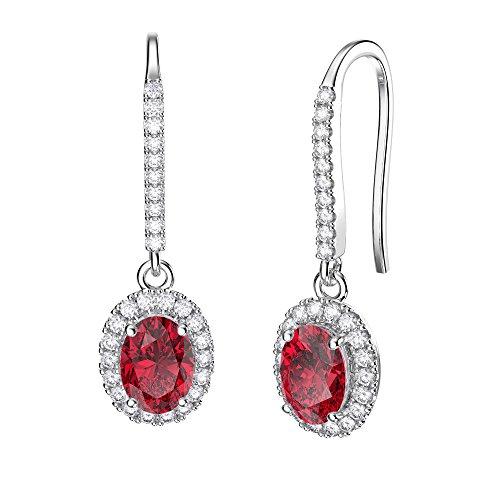 avec Rubis et Diamant Or Blanc Boucles d'oreilles en argent sterling (ovale)