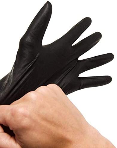 100pcs HIGH PERFORMANCE BLACK NITRILE PROTECTIVE GLOVES MEDIUM