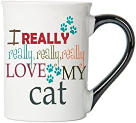 TumbleweedCat Coffee Cup - I Really, Really, Really, Really Love My Cat - Gifts For Cat Lovers - Hold Approx. 18 Ounces