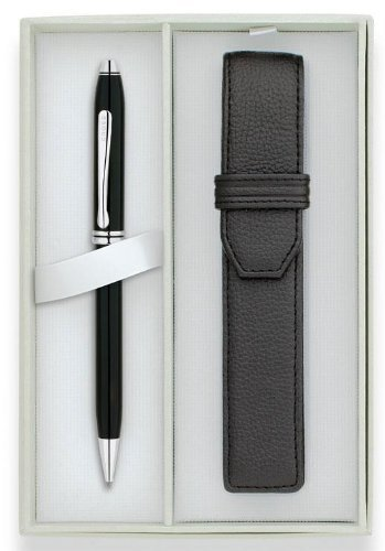 Cross Townsend, Black Lacquer, Ballpoint Pen, with Rhodium Plated Appointments & Single Cross Leather Pen Pouch ()