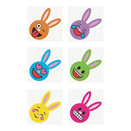 Fun Express - Easter Emoji Tattoos for Easter - Apparel Accessories - Temporary Tattoos - Regular Tattoos - Easter - 72 Pieces