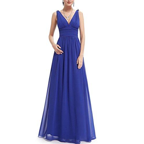KAXIDY Mujer Vestido Largos Elegante V-Cuello Profundo Coctel Maxi Vestido Azul