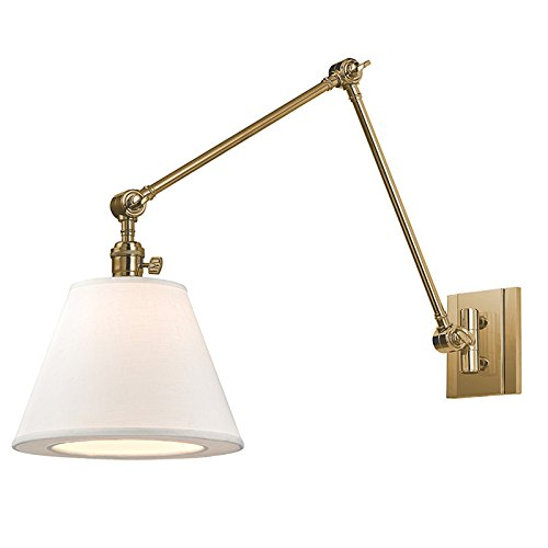 Hillsdale 1-Light Swing Arm Wall Sconce - Aged Brass Finish with White Linen Shade (Aged Brass Swing Arm Lamp)