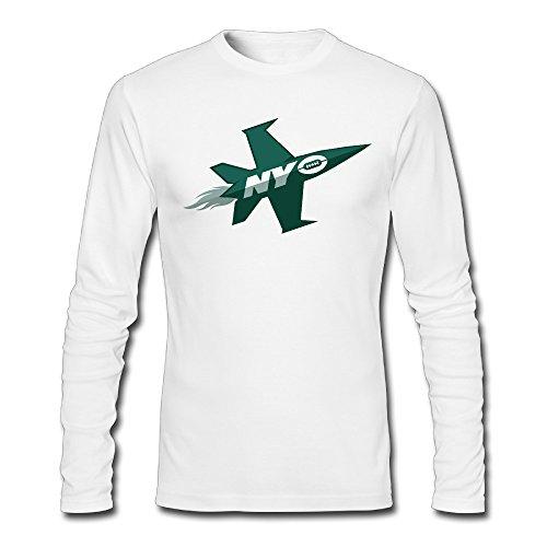 LCNANA New York Plane Jets Men's Spring And Autumn Cotton Long-Sleeved Shirt White S