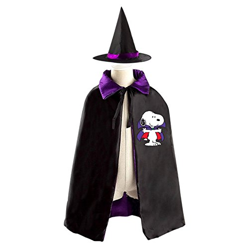 Snoopy Costume Child (Vampire Snoopy Dog Halloween Party Costume Kids Cloak Wizard Witch Cape and Hat)