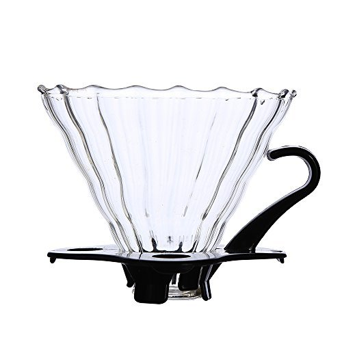 Pour Over Coffee Dripper 1-4 Cups (Size 02 ) Glass Assemblable Coffee Filter Cone Wavy Surface for Coffee Server or Dripper Holder by Ingenuity & Senhs by Ingenuity